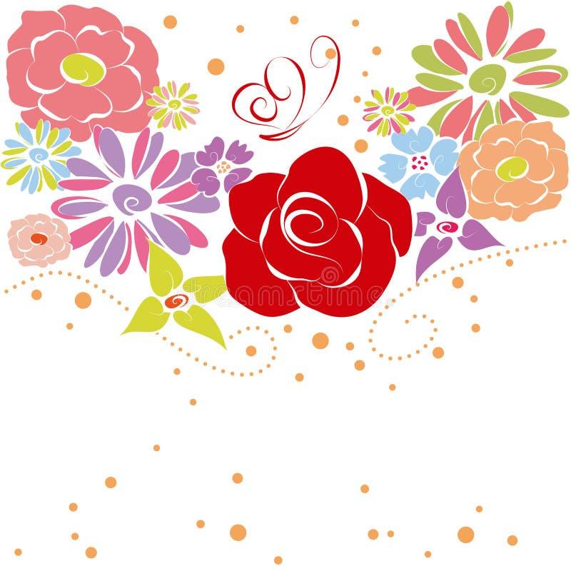 Abrégez les fleurs colorées d'été de source illustration stock