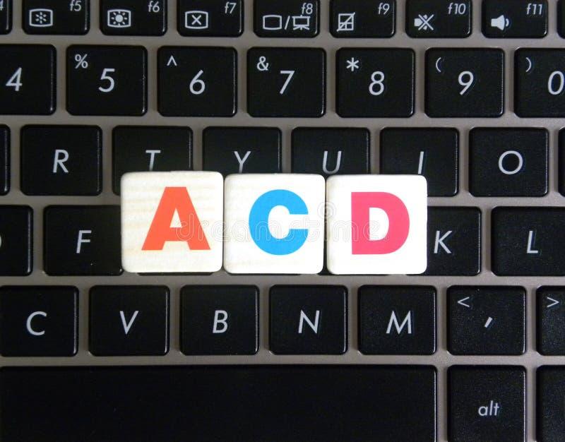 Abréviation ACD sur le fond de clavier photo stock