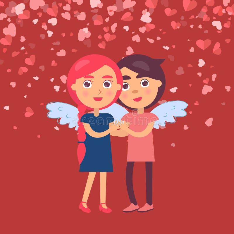 Abraçando a amiga do noivo em Angel Wings Vetora ilustração do vetor