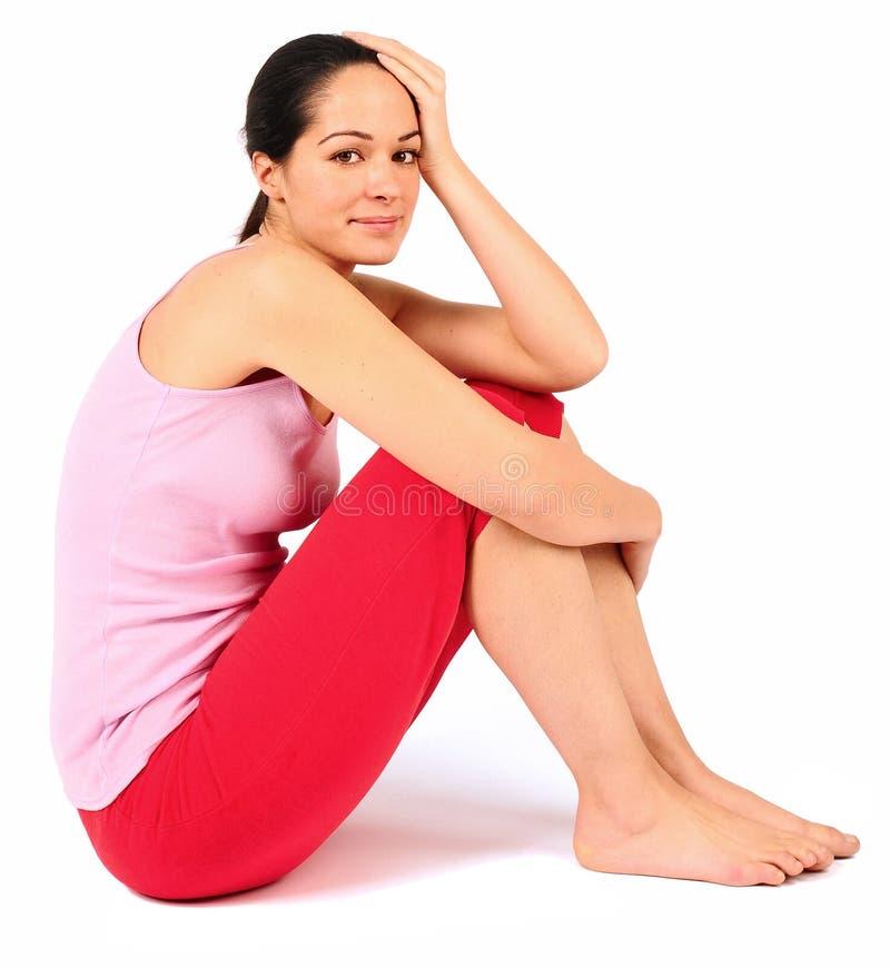 Download Abraçando joelhos foto de stock. Imagem de mulher, assoalho - 12807394