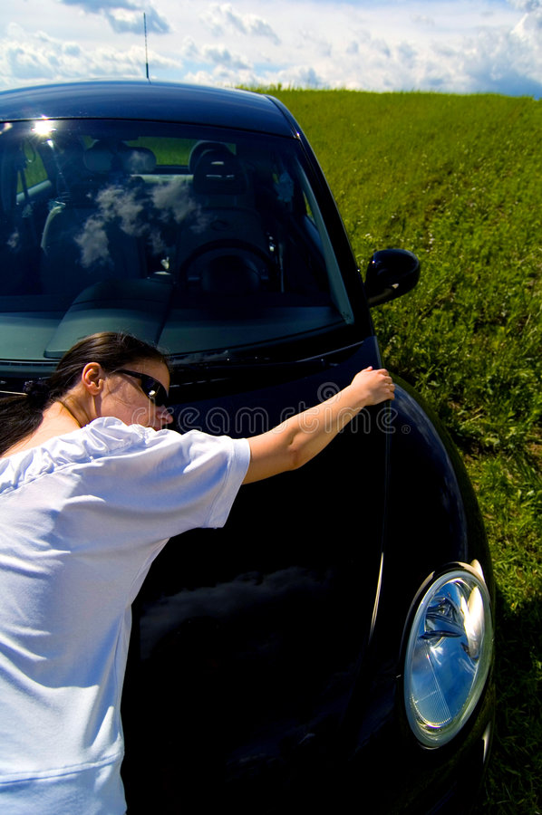 Abraçando meu carro imagens de stock royalty free
