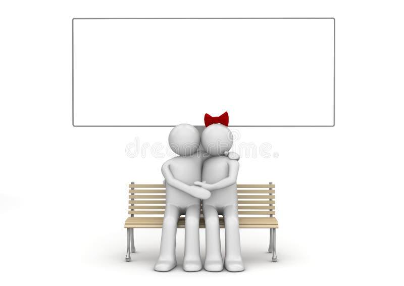 Abraçando o homem e a mulher em um banco com copyspace ilustração royalty free