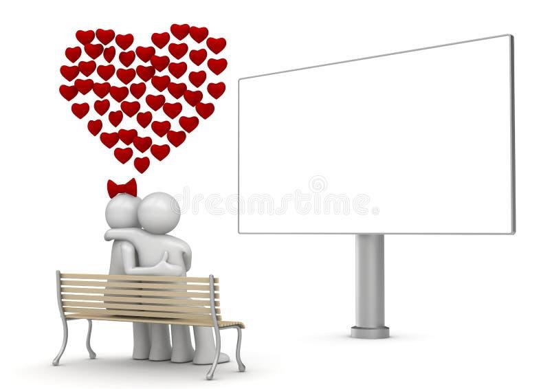 Abraçando o homem e a mulher em um banco com copyspace ilustração do vetor