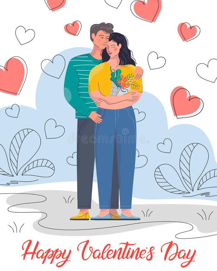 Abraçando pares com fundo dos corações ilustração do vetor