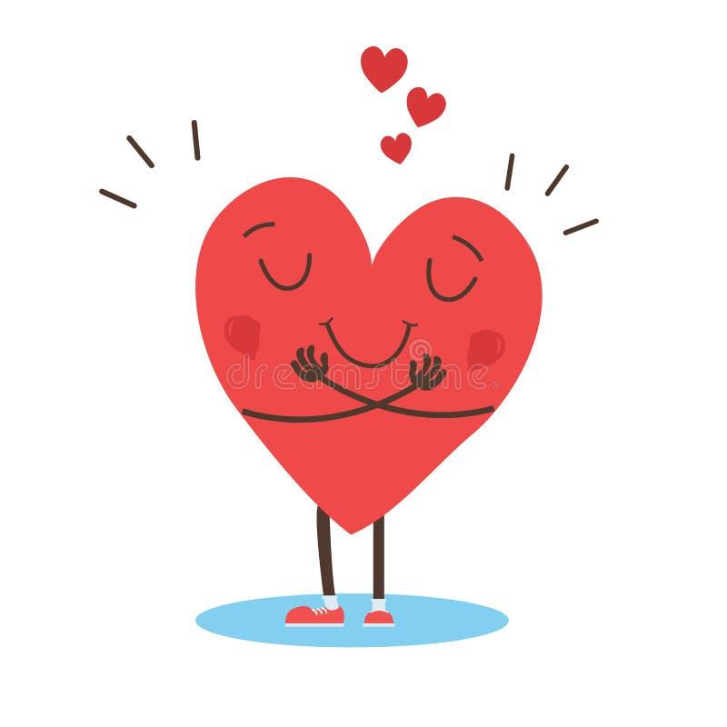 Abraçar vetor cardíaco, abraçar-se, amar-se a si mesmo - Vetor ilustração do vetor