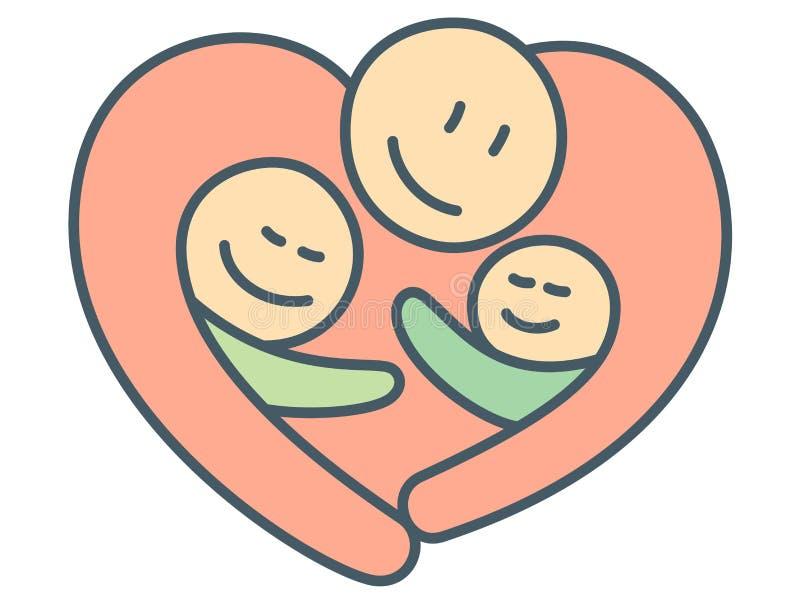 Abraço da forma do coração do melhores pai e crianças como o relacionamento da paternidade ilustração do vetor