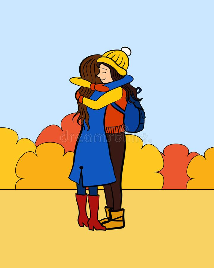 Abraço das namoradas ilustração stock