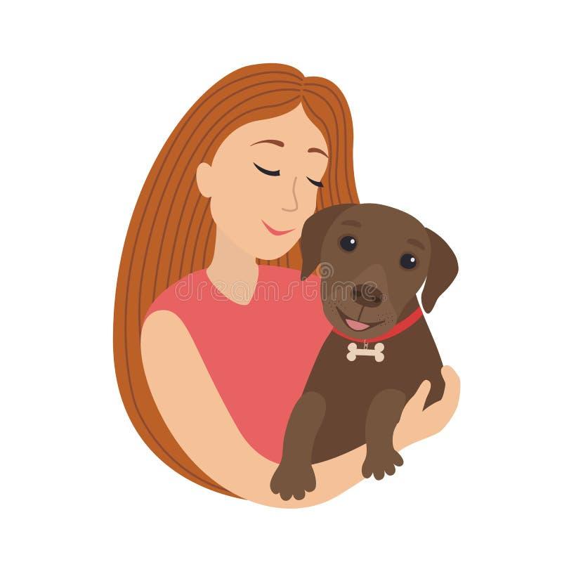 Abraço de sorriso da menina dos desenhos animados bonitos do vetor um cachorrinho Labrador, realizar da mulher no abraço sua ilus ilustração royalty free