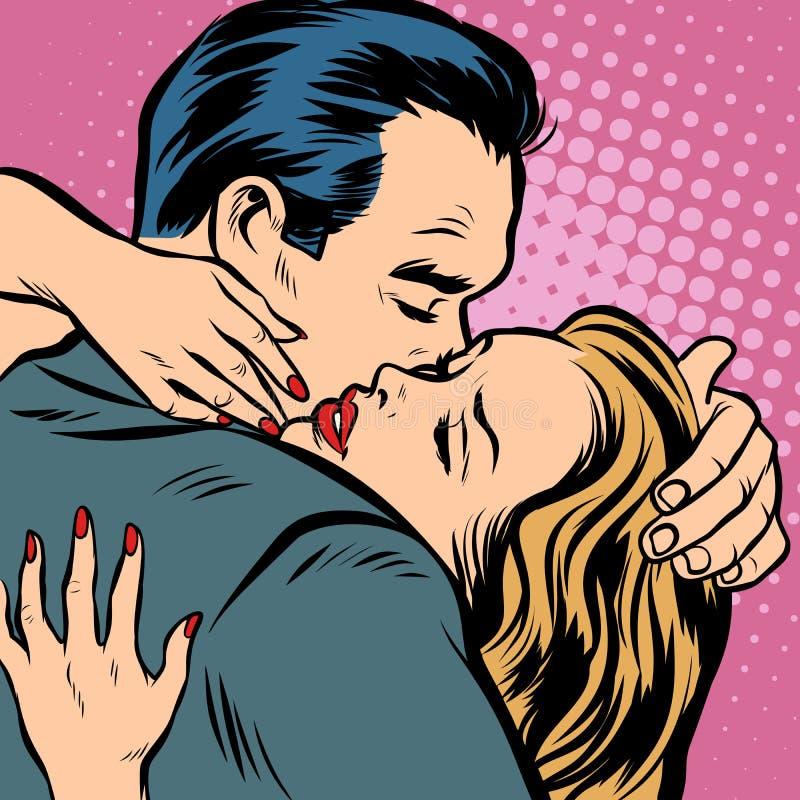 Abraços do homem e da mulher, amor e romance ilustração do vetor