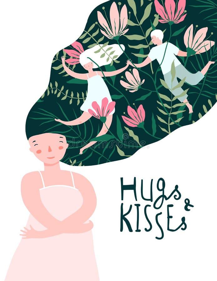 Abraços e sonho do amante da menina dos beijos ilustração royalty free