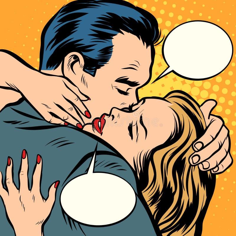 Abraços loving dos pares ilustração stock