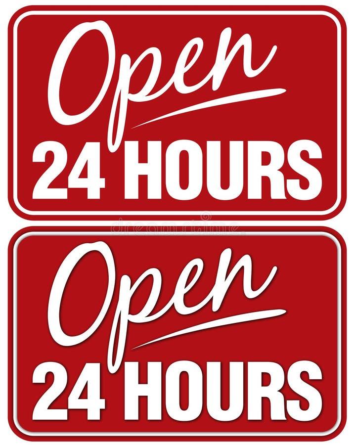 Abra 24 horas imagens de stock