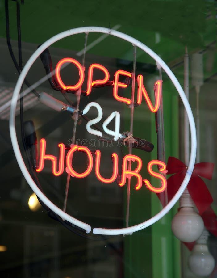 Abra 24 horas imagem de stock royalty free
