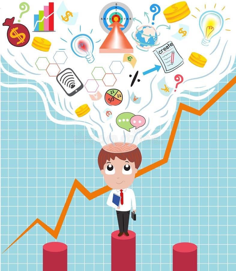 Abra al hombre de negocios de la idea ilustración del vector