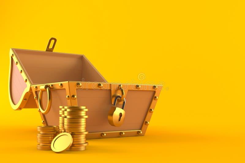 Abra a arca do tesouro com a pilha de moedas ilustração do vetor