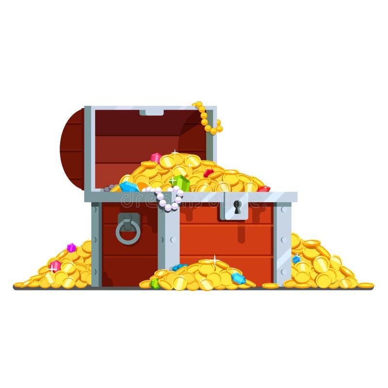 Abra a arca do tesouro do pirata completamente de moedas de ouro ilustração do vetor
