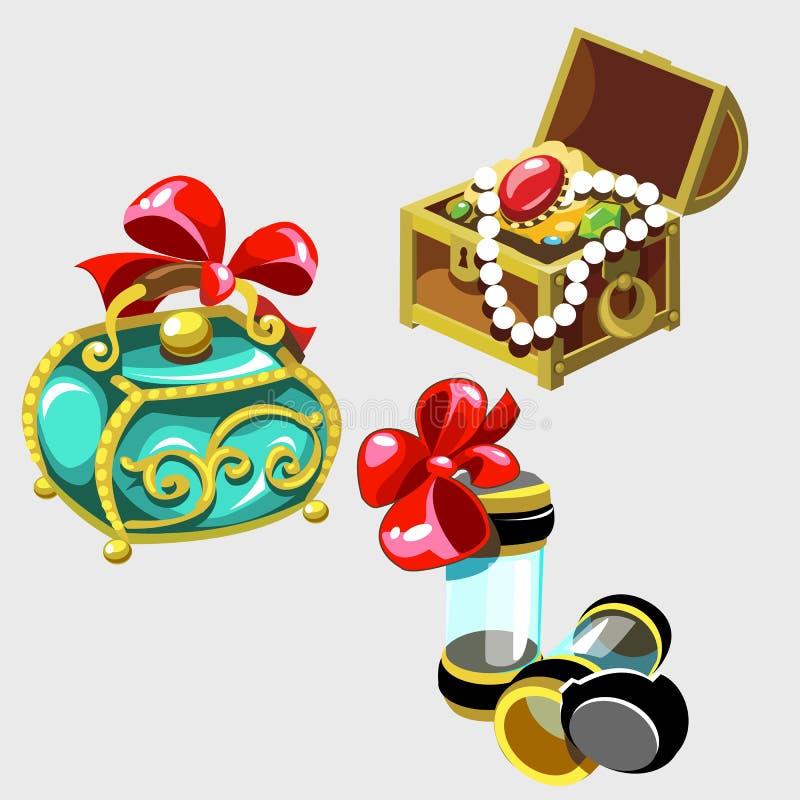 Abra a arca do tesouro e o caixão fechado da princesa ilustração stock