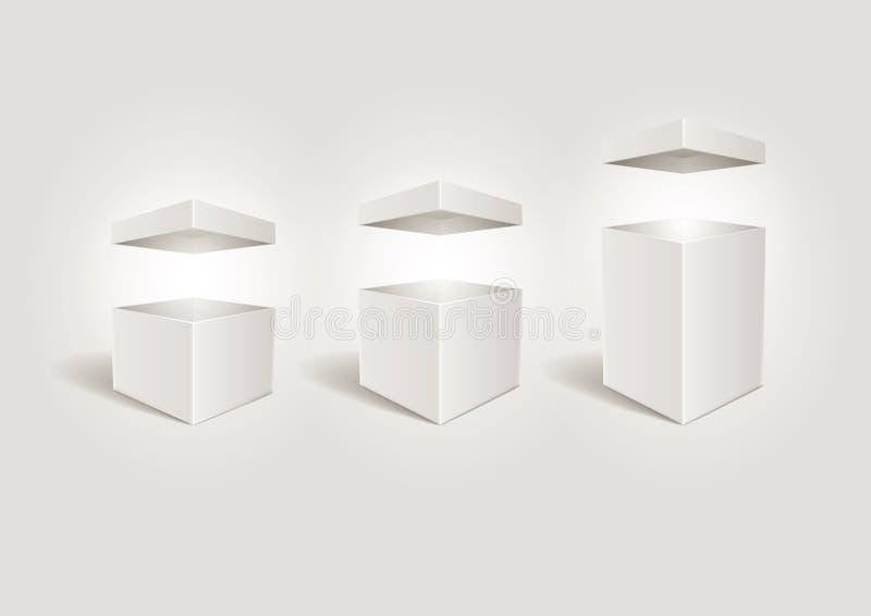 Abra as caixas brancas. ilustração stock