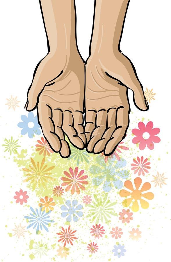 Abra as mãos ilustração do vetor