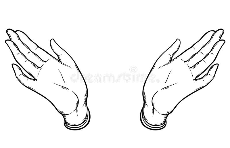 Abra as mãos Ilustração desenhada mão Illus oculto do vetor do projeto ilustração do vetor