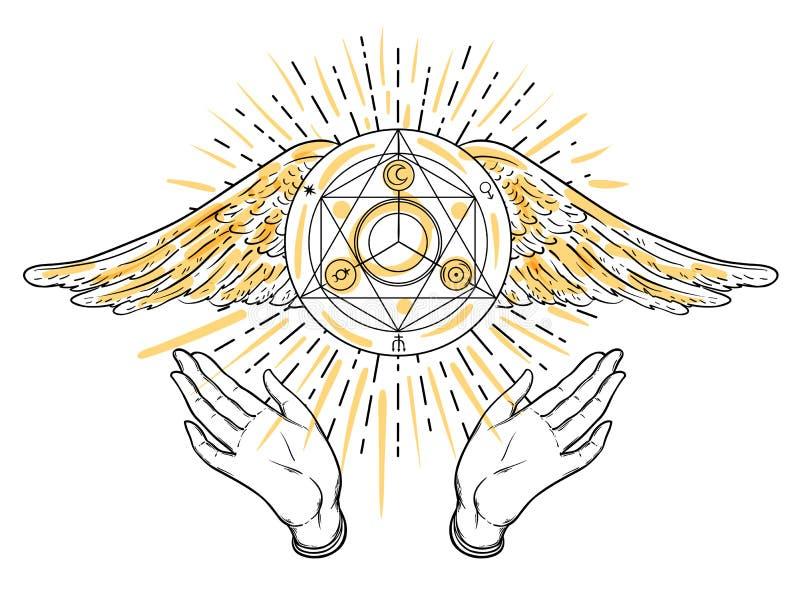Abra as mãos Ilustração desenhada mão Projeto oculto com anjos w ilustração stock