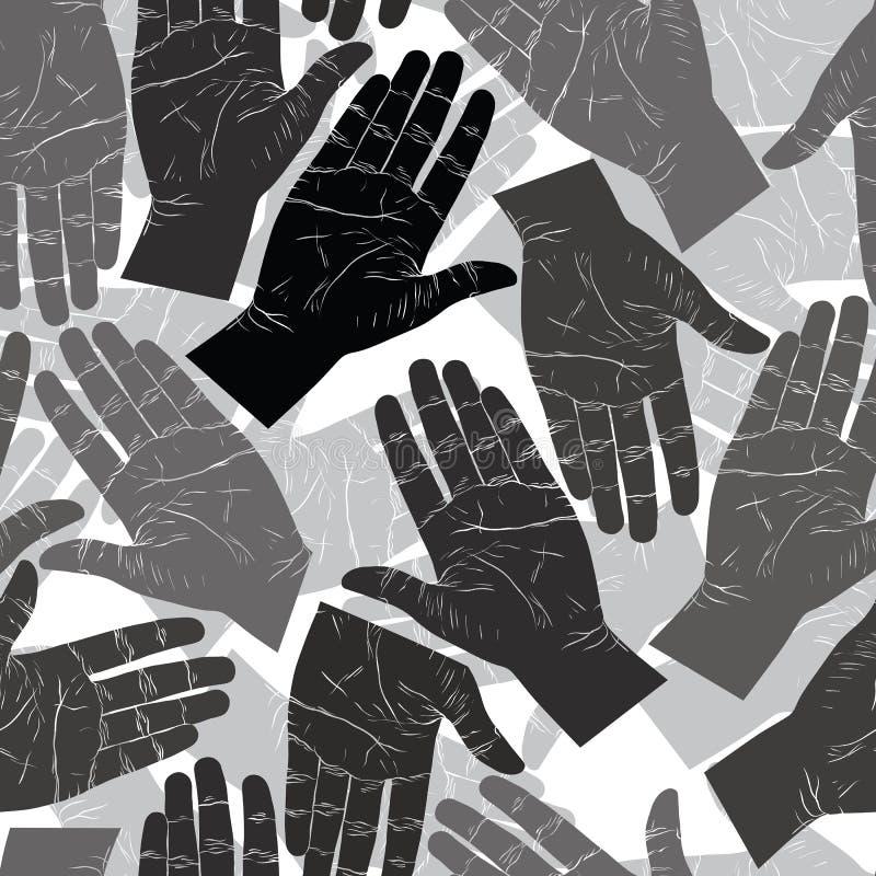 Abra as mãos que procuram-se para agitar o teste padrão sem emenda, preto ilustração royalty free