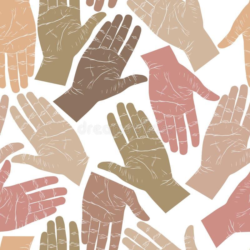 Abra as mãos que procuram-se para agitar o teste padrão sem emenda, vecto ilustração royalty free