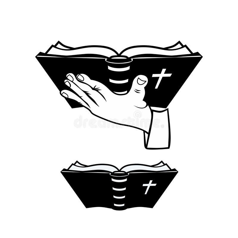 Abra a Bíblia A Bíblia está na mão do ` s da pessoa ilustração royalty free