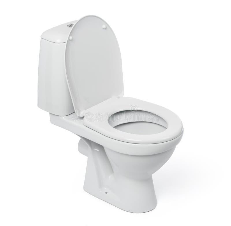 Abra a bacia de toalete no fundo branco imagem de stock