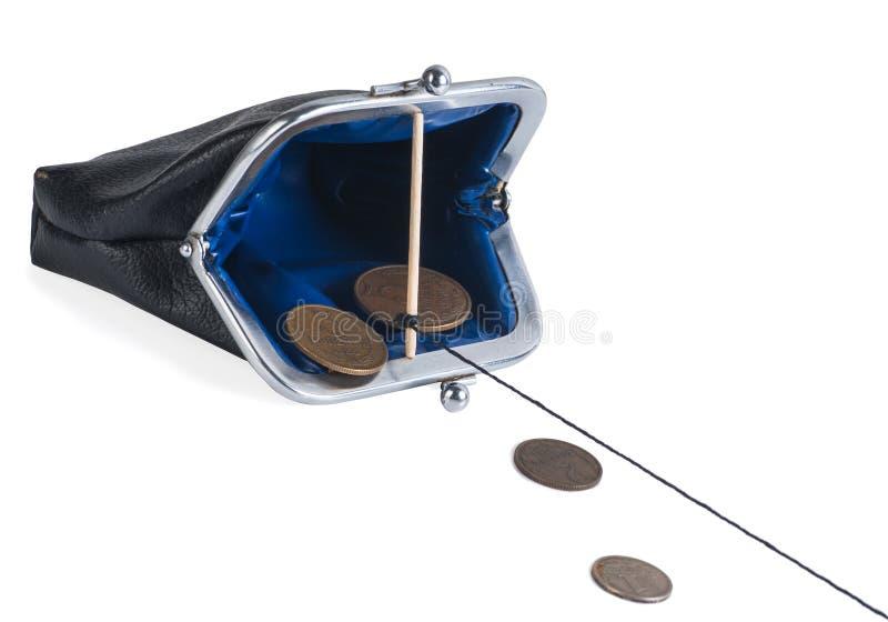 Abra a bolsa da armadilha com moedas imagens de stock