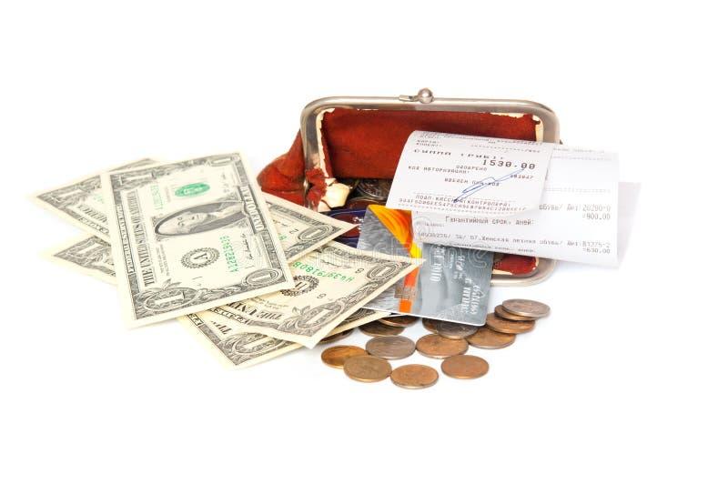 Abra a bolsa, o recibo e o dinheiro fotografia de stock royalty free