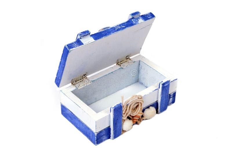 Abra a caixa azul foto de stock