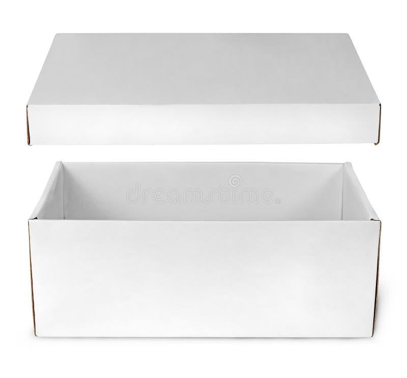 Abra a caixa branca vazia com tampa imagem de stock royalty free