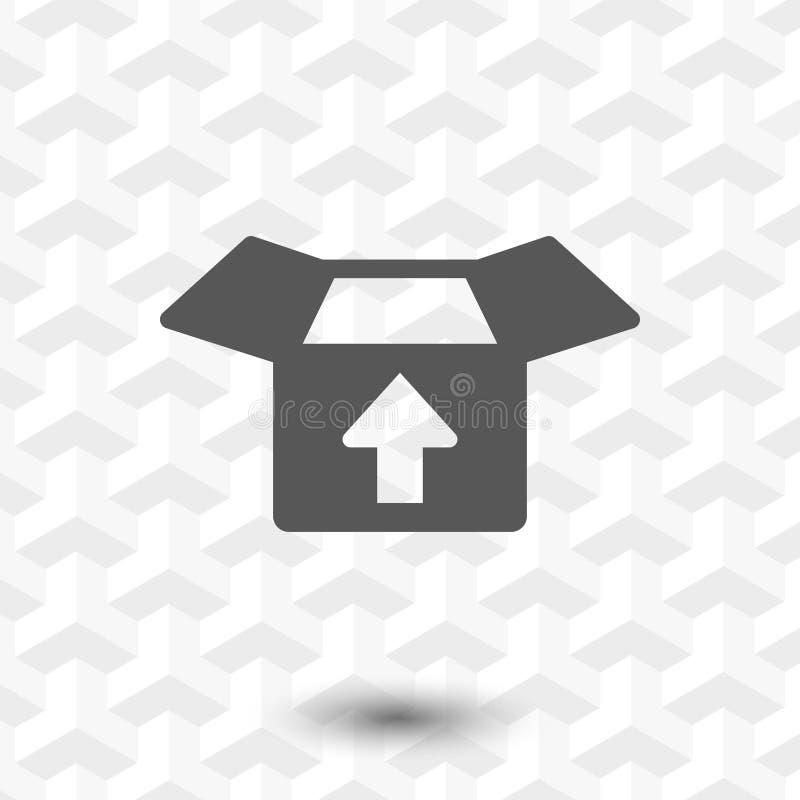 Abra a caixa com projeto liso da ilustração do vetor do estoque do ícone da seta ilustração stock