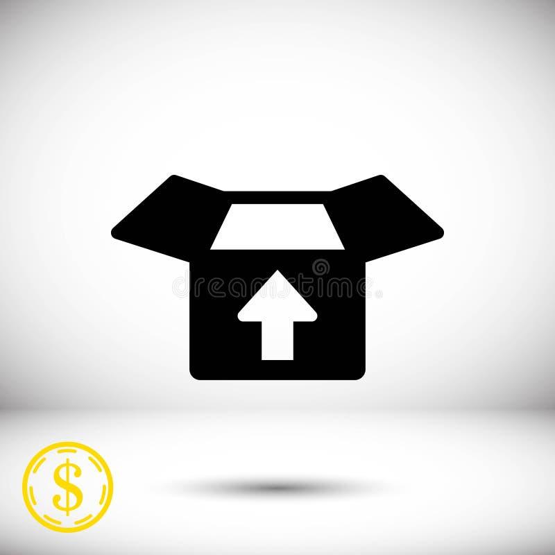 Abra a caixa com projeto liso da ilustração do vetor do estoque do ícone da seta ilustração royalty free