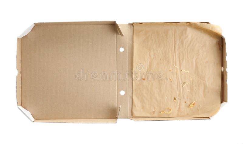 Abra a caixa da pizza do cartão no fundo branco fotografia de stock royalty free