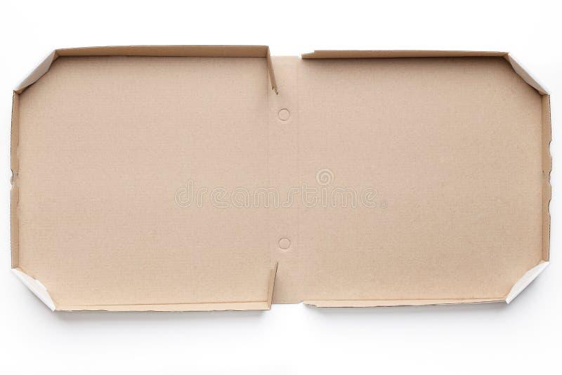 Abra a caixa da pizza do cartão no fundo branco imagens de stock royalty free