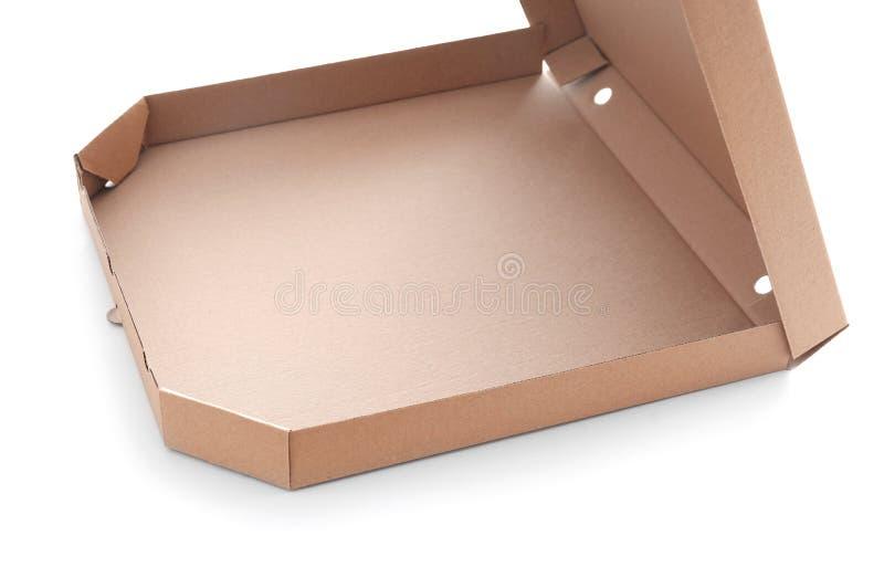 Abra a caixa da pizza do cart?o no fundo branco fotografia de stock royalty free