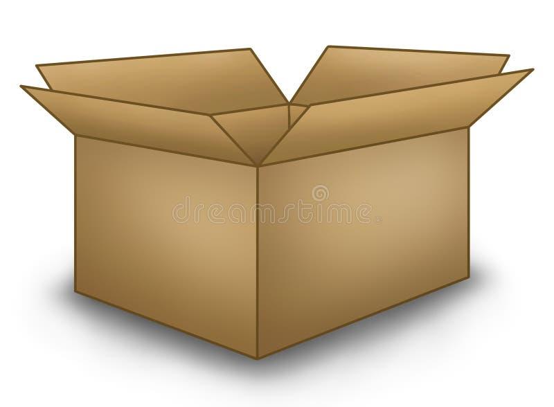 Abra a caixa de Brown ilustração stock