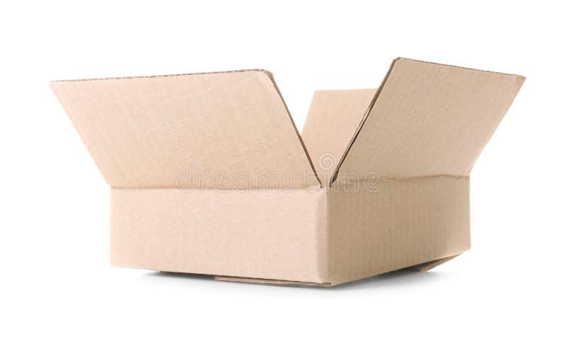 Abra a caixa de cartão vazia no fundo branco foto de stock