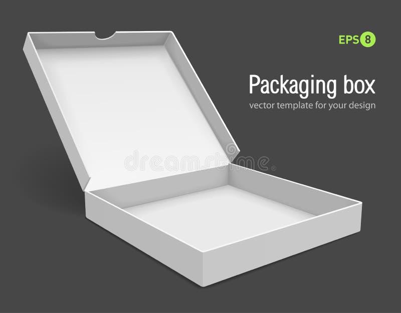 Abra a caixa de embalagem para a pizza ilustração do vetor