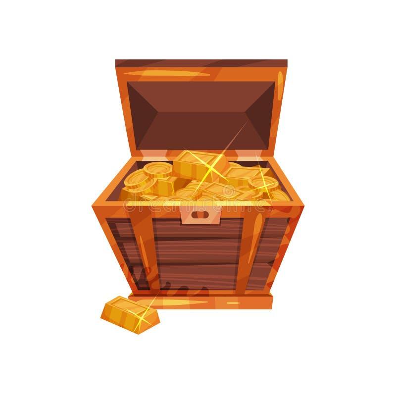 Abra a caixa de madeira velha completamente de moedas e de lingotes dourados Tesouros do pirata Elemento do projeto gráfico para  ilustração do vetor
