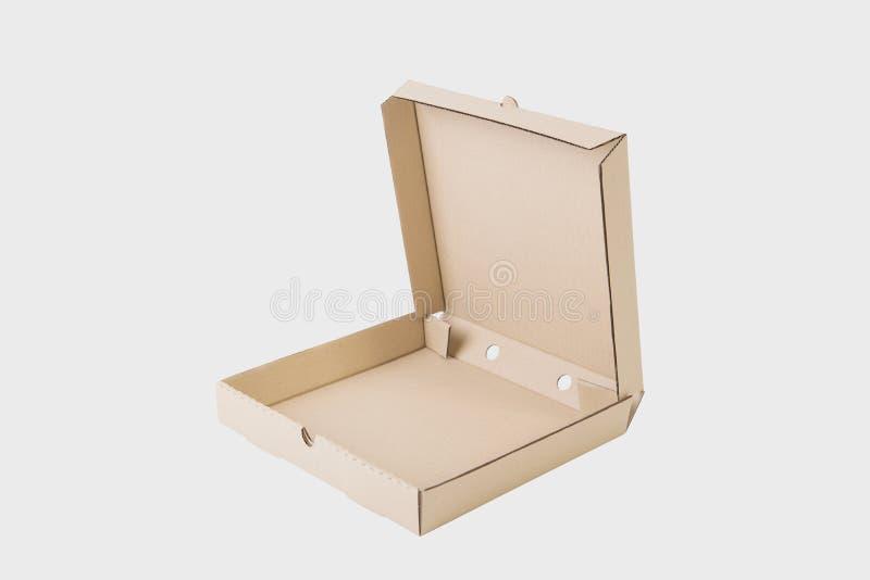 Abra a caixa de papel marrom do cartão para a marcagem com ferro quente do modelo da pizza imagem de stock