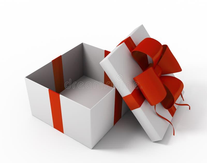 Abra a caixa de presente branca ilustração do vetor