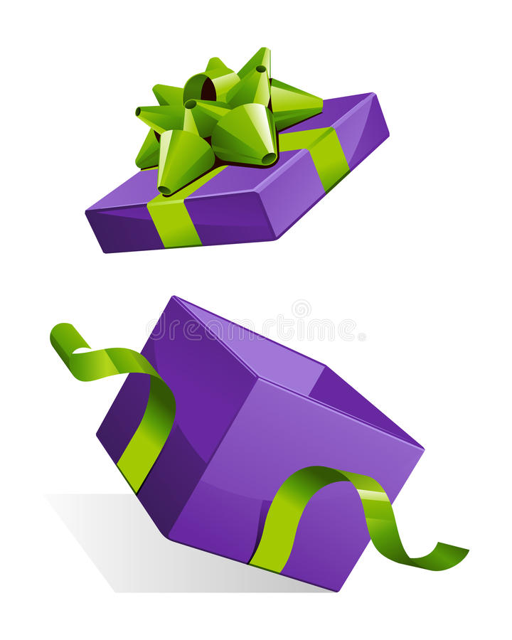 Abra a caixa de presente com curva verde lustrosa ilustração stock