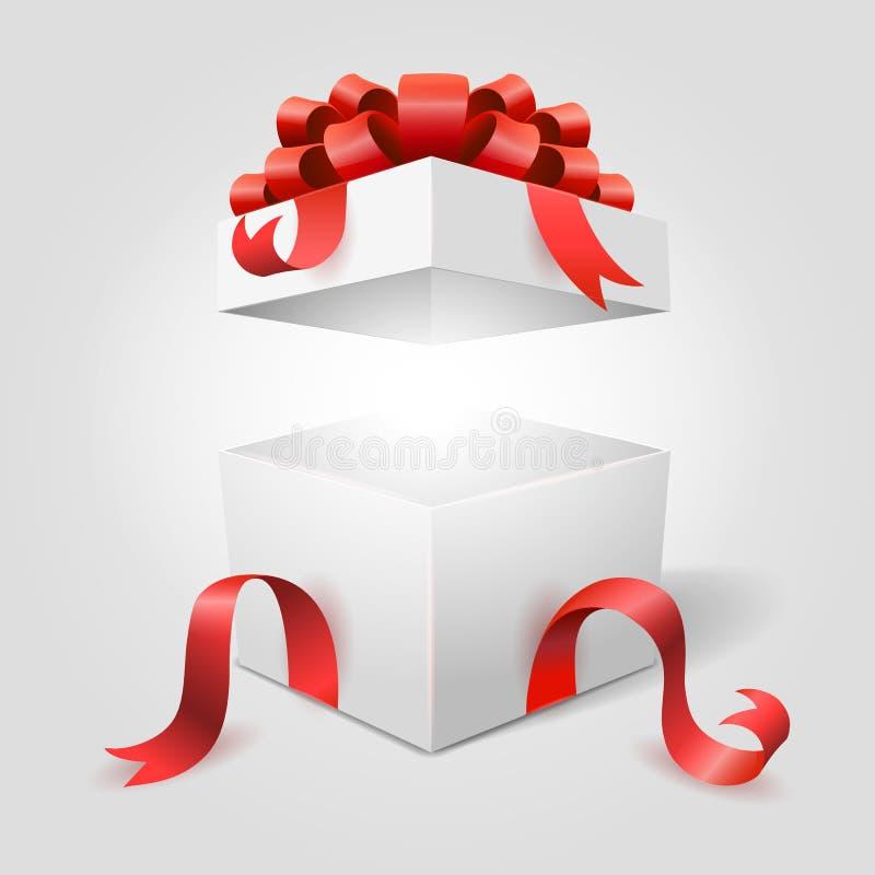 Abra a caixa de presente com fita vermelha ilustração stock