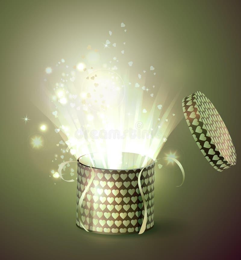 Abra a caixa de presente com raios de luz brilhantes ilustração royalty free