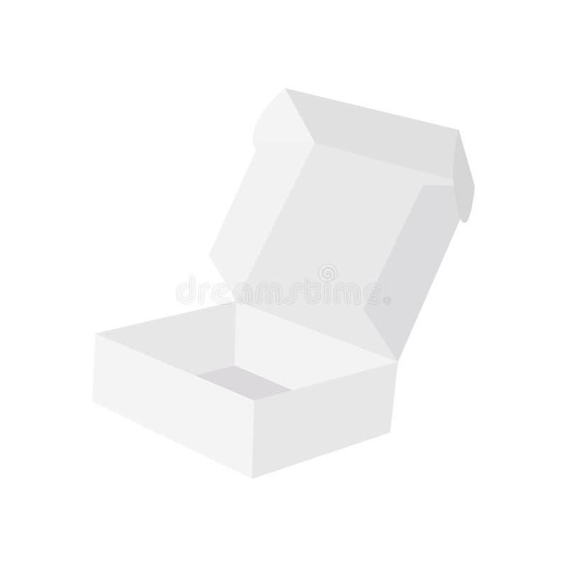 Abra a caixa de presente com a tampa isolada no fundo branco Modelo para seu projeto Ilustração do vetor ilustração stock