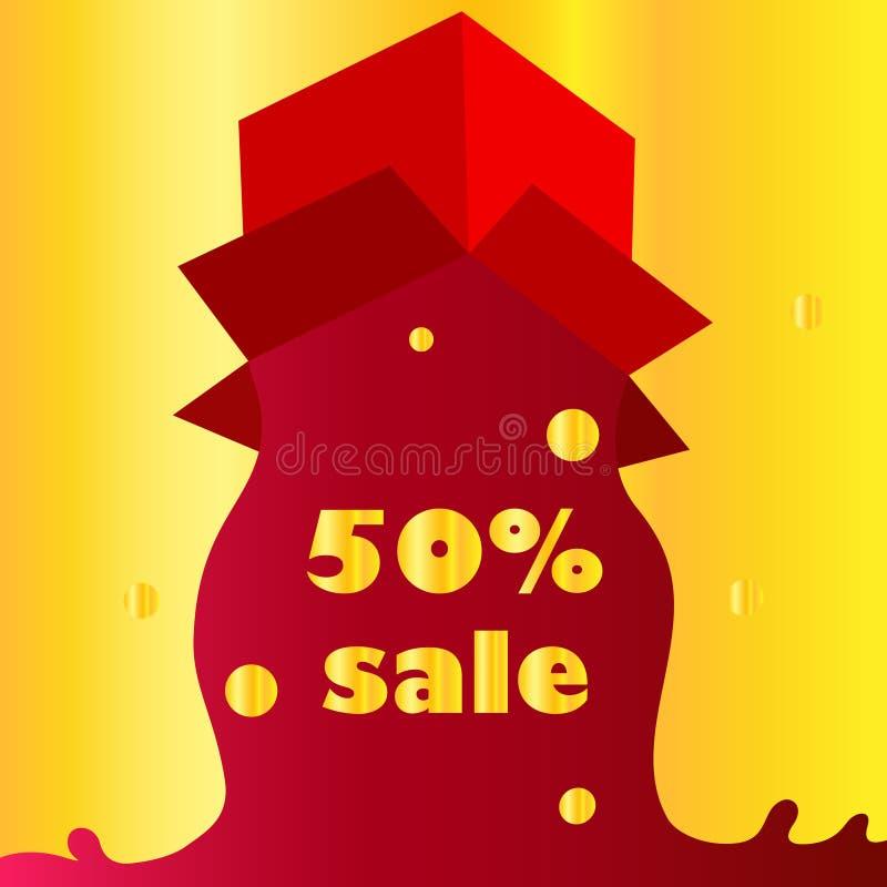 Abra a caixa de presente e confetes vermelhos Fundo do Natal Ilustração do vetor da loja da venda do conceito ilustração royalty free