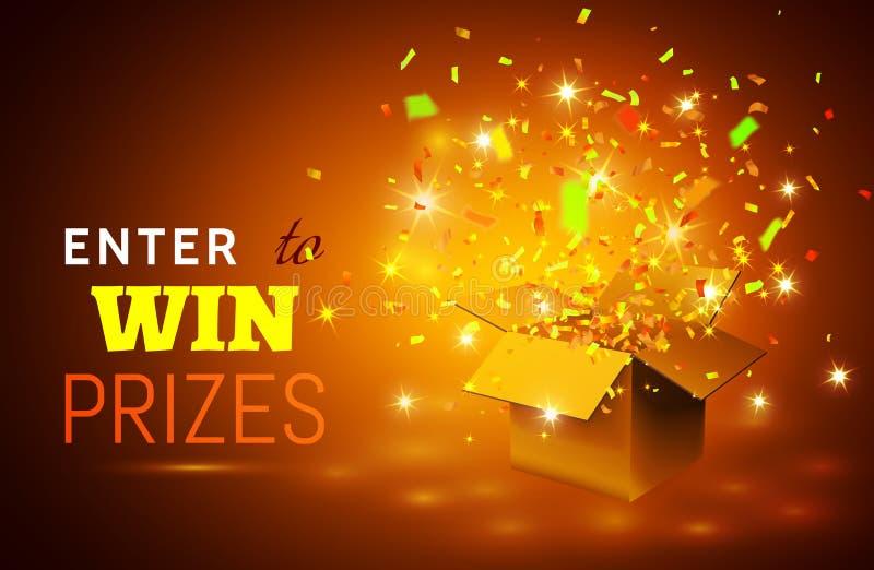 Abra a caixa de presente e os confetes no fundo amarelo Entre para ganhar prêmios Ilustração do vetor ilustração stock